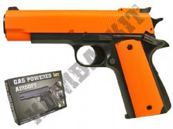 HG123 Gas Powered Airsoft BB Gun Black and Orange